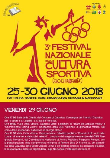 Festival Nazionale Cultura Sportiva 29.06 venerdi